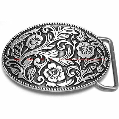SBU1826 WESTERN FLORAL FLOWER PLAIN ROPE BORDER COWBOY COWGIRL BELT BUCKLE