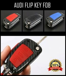 Car-FLIP-Key-Fob-Audi-a2-a3-a4-a6-a8-tt-q3-q5-Case-Shell-Cover-amp-Chain-CARBON