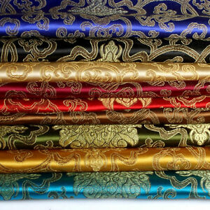 Chinois-Broderie-Fleur-Brocart-Satin-Soyeux-Tissu-pour-Robe-Matelassage-By