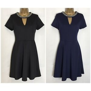 Dorothy-Perkins-Stretch-Scuba-Fit-amp-Flare-Dress-2-Colours-Sizes-8-18-dp-24h