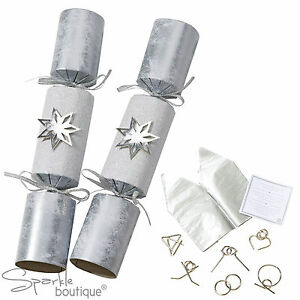 Luxury Silver Star Christmas Crackers X 6 With Metal