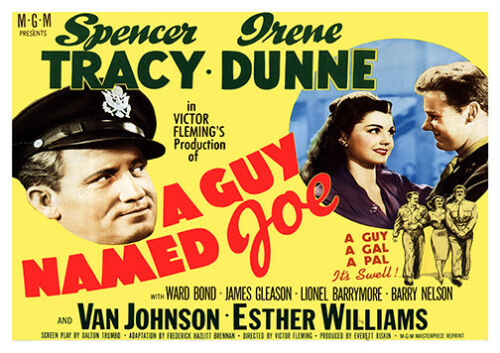 Vintage  Movie advertising A Guy named Joe Poster reproduction.