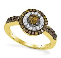10k Yellow Gold Chocolate Brown Diamond Solitaire & White Diamond Ring .75ct