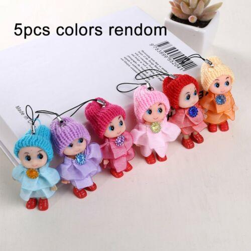 1//4//5Pcs Random Soft Cute Baby Dolls Mini Doll Girl/'s Toy Hanging Ornament Gift