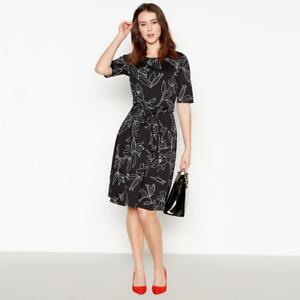 Womens-Principles-Debenhams-Black-Ivory-Petite-Floral-Skater-Fit-amp-Flare-Dress