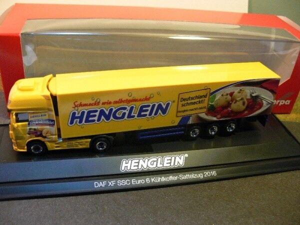 1 87 Herpa DAF XF SSC euro 6 henglein refrigeración maleta-remolcarse PC 121736