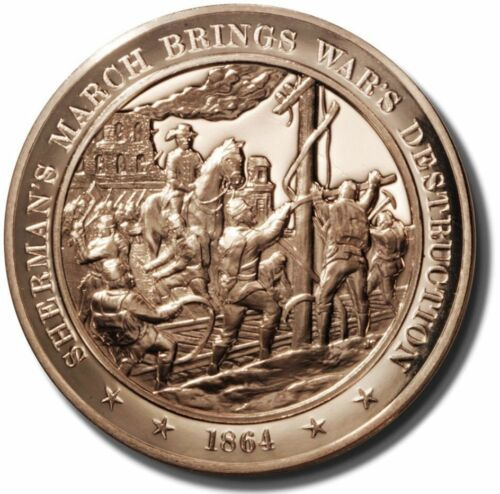 Solid Bronze Medal +1864 Sherman/'s March Brings Destruction