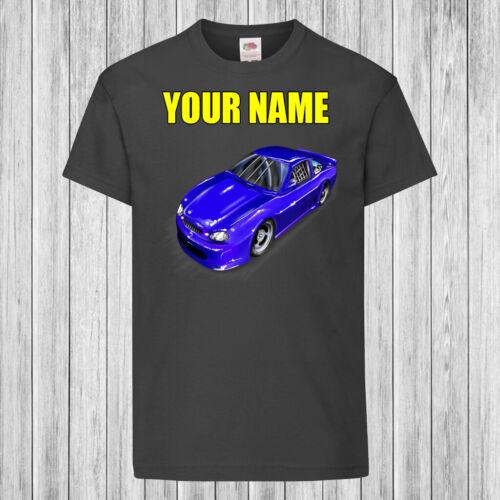 Couleur Unique voiture de course-Enfants//Enfants T-shirt DTG-personnalisé avec nom