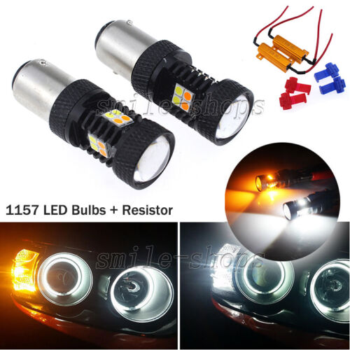 2 x 1157 Dual Color Switchback White Amber Turn Signal LED Light ...