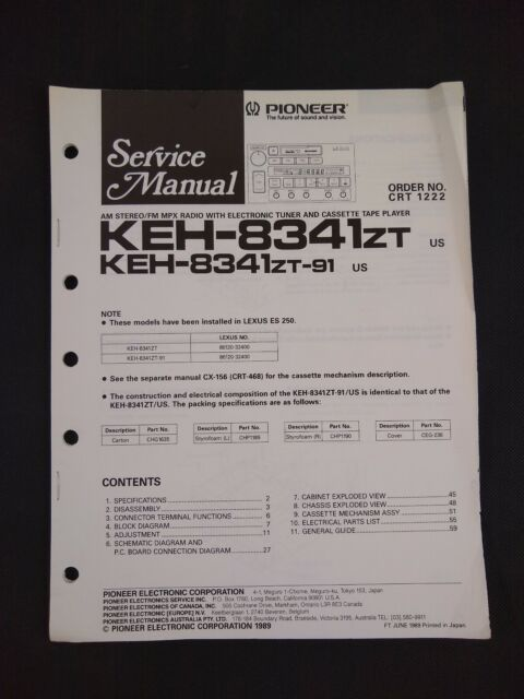 Pioneer Service Manual Order No Crt 1222 For Keh