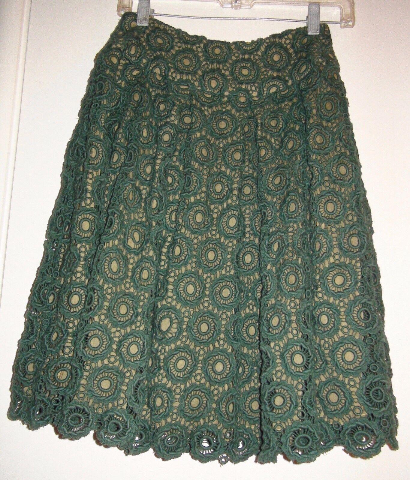 Moulinette Soeurs Tubepink Heavy Lace Dark Green Silk Lining Skirt Sz 0