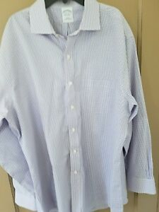 MENS-BROOKS-BROTHERS-BLUE-DRESS-SHIRT-LONG-SLEEVED-17-33-non-iron-SLIM-FIT