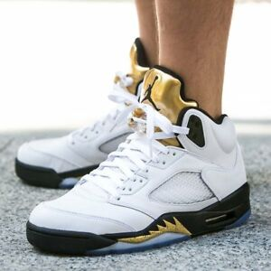 newest 1a6bf 626e1 Image is loading NIKE-AIR-JORDAN-5-RETRO-OLYMPIC-GOLD-BLACK-