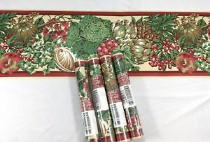 Waverly-Wallpaper-Border-5-Roll-Lot-Tan-Burgundy-Fruit-Vegetable