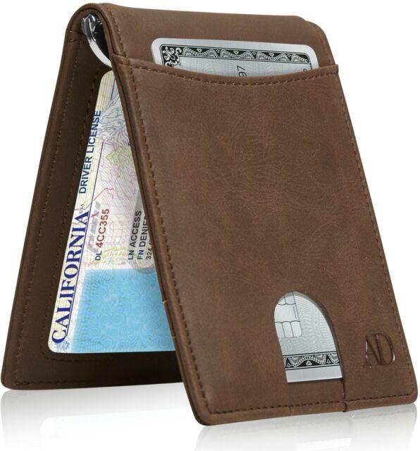 Slim Black Bifold Genuine Leather Wallet FRID Blocking Wallet Purse for Men