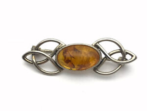 Vintage Sterling SILVER & AMBER CABOCHON Brooch GIFT BOXED