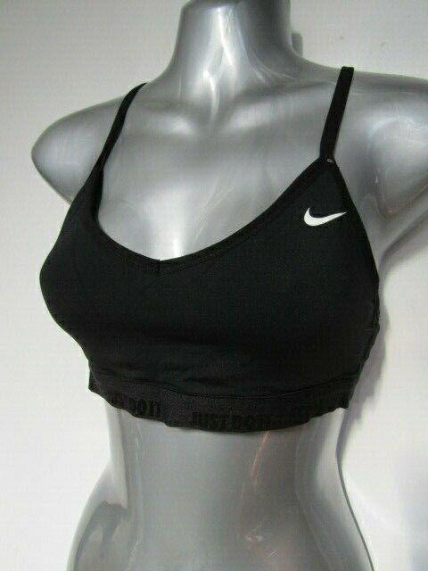 Nike DRI-FIT Black Gym Sports Bra Just Do It V Neck Racer Back Mesh Size M 10 12