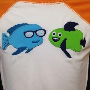 Gymboree-Swim-Shirt-Long-Sleeve-Sunscreen-Swimwear-Fish-Blue-Green-18-24-Mos-NWT
