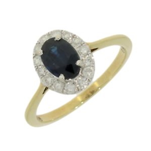 9ct-Yellow-Gold-Sapphire-amp-Diamond-0-30cts-Cluster-Ring