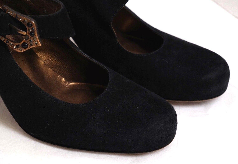 VGUC+ Donald J. Pliner Women's Size 7M Black Suede Suede Suede Buckled Ankle Strap Heels 5ebe42