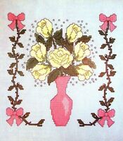 Roses Gypsophila Vase And Vines Bedroom Set Of 4 Cross Stitch Patterns
