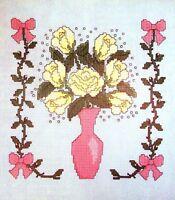 Roses Gypsophila Vase And Vines Bedroom Set Of 4 Cross Stitch Patterns