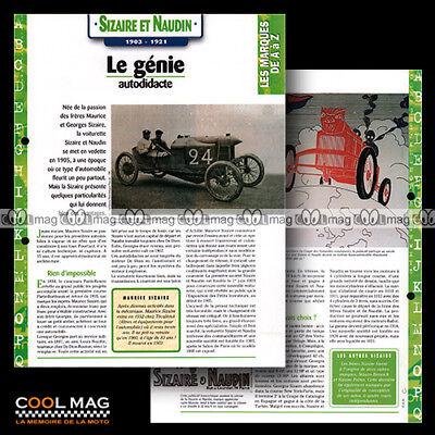 #hvf.09.03.c Sizaire & Naudin Stroy 1903-1921 Clasic Car Fiche Auto