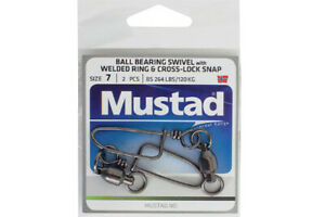 Mustad-Ball-Bearing-Swivels-With-Welded-Ring-amp-Cross-Lock-Snap-NEW-Otto-039-s-Tack