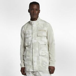 fee5dbc669b3 Men s Nike Sportswear NSW Camo Jacket White Light Bone Size LARGE ...