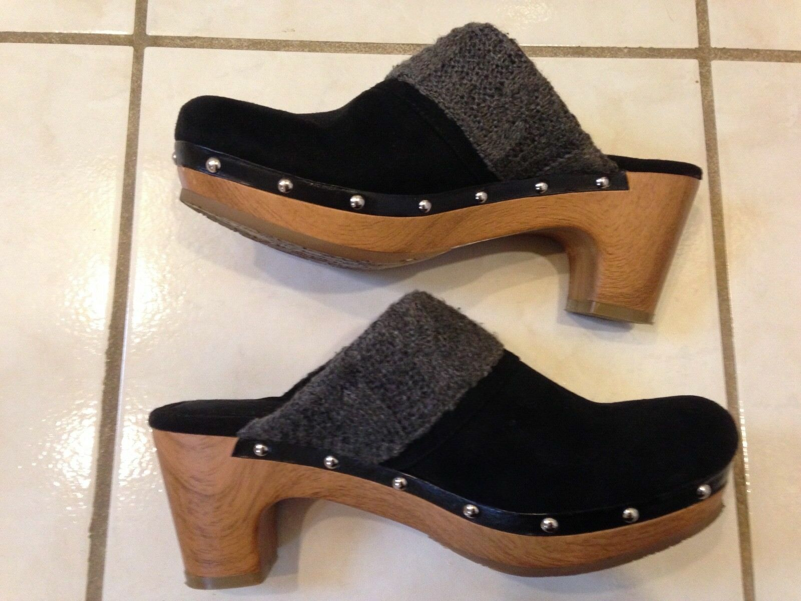 Style & Faux Co Clogs in Black Faux & Suede, Size 7 M 887f55