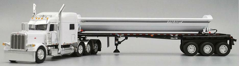 DCP WHITE  PETERBILT 389 70 MID ROOF TRI-AXLE SMITHCO SIDE DUMP 1 64 34216