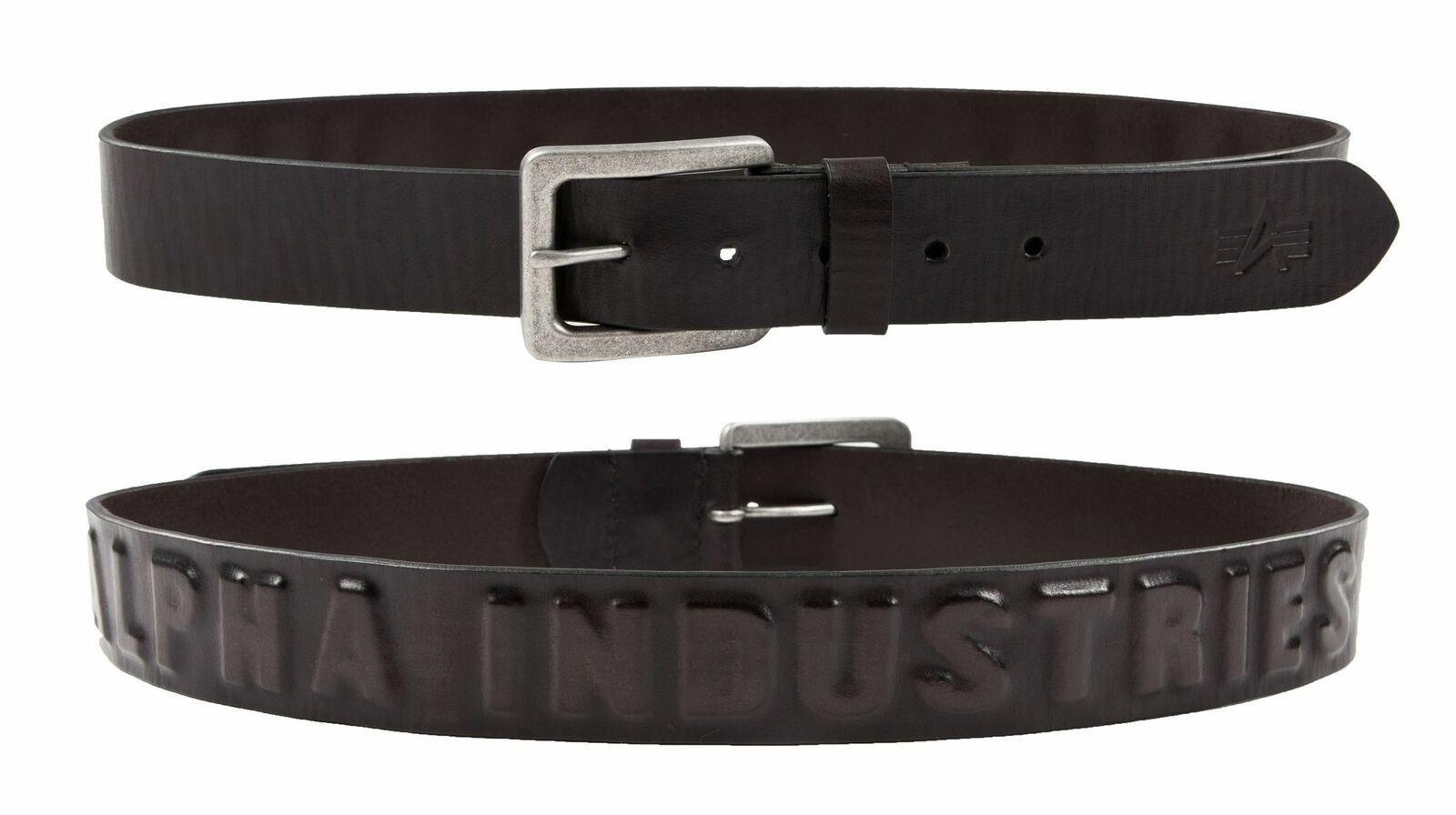 Alpha Industries 3D Leather Belt Belt Black