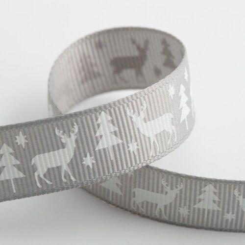 Noël Gros-Grain Ruban 9 mm 16 mm Largeur 5 m rouleaux de Noël Craft Stag SANTA SLEIGH