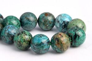 Loose Beads 10MM Genuine Natural Green and Blue Chrysocolla Grade AAA Round Loose Bead 15.5