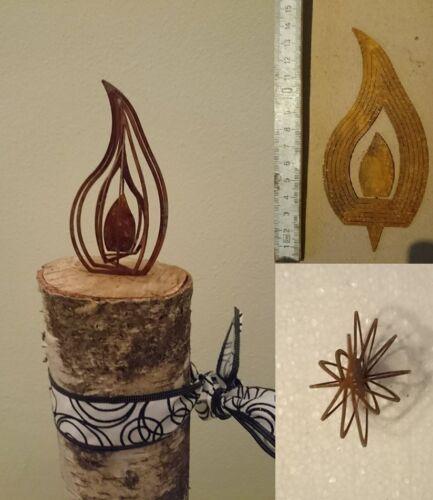 4er Set 12cm 3D Effekt Kerze zum aufdrehen Design Rost Deko Ostern Advent