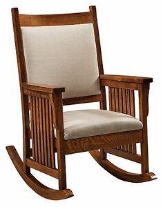 Amish-Mission-Craftsman-Rocking-Chair-Rocker-Slat-Sides-Upholstered ...