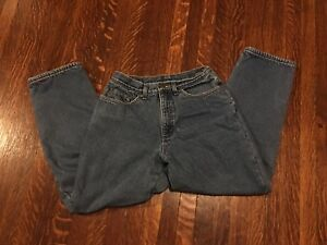 LL-Bean-Womens-Flannel-Lined-Jeans-Original-Relaxed-Fit-Size-10-Short