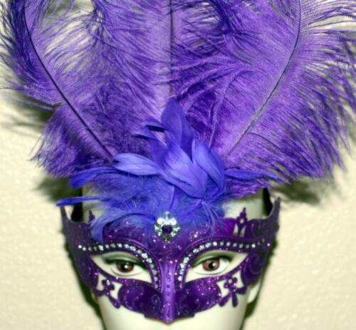 VENETIAN Mardi Gras Masquerade Ball PURPLE MASK w// SILVER GLITTERS FEATHERS New