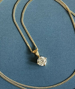 "18ct Oro Amarillo Solitario Diamante Colgante 18"" Cadena Collar 0.45ct Nr .50ct"