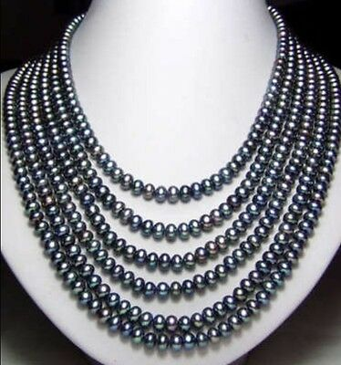 "Long 120"" 7-8mm Black Akoya Cultured Pearl Necklace AAA"