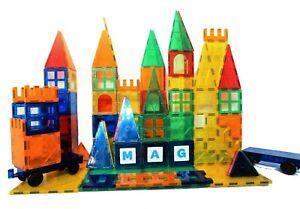 182PC Magnet Tiles Mag-Genius Magnetic Building Blocks SET Toys For Kids GIFT
