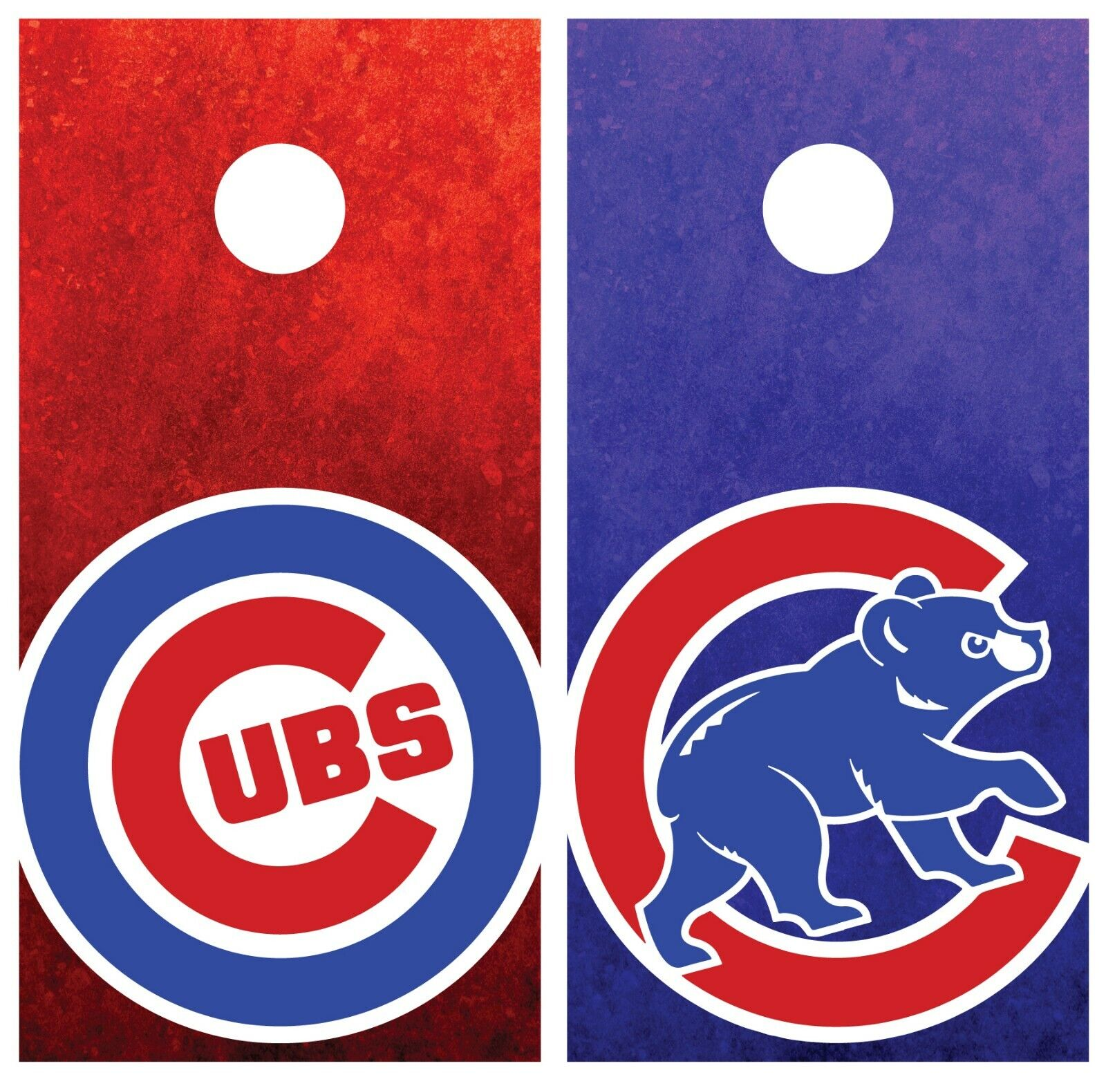 cago Cubs  Grunge Cornhole Board Wraps Skins Vinyl Laminated HIGH QUALITY   authentic