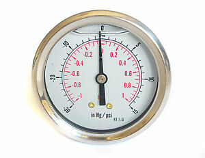Image Is Loading Compound Pressure Vacuum Gauge Glycerine Filled 63mm Back