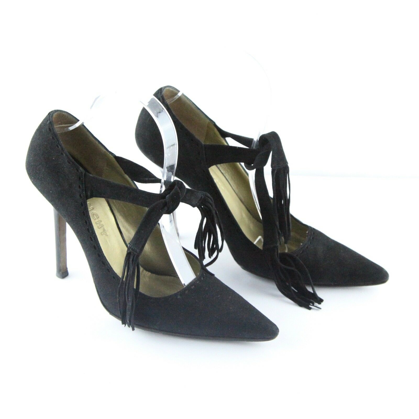Givenchy Black Suede Mary Jane Tie Front Tassel Stiletto Heels 38 1 2  Pump
