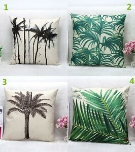 Image Is Loading Coconut Tree Palm Leaves Cotton Linen Pillow Case