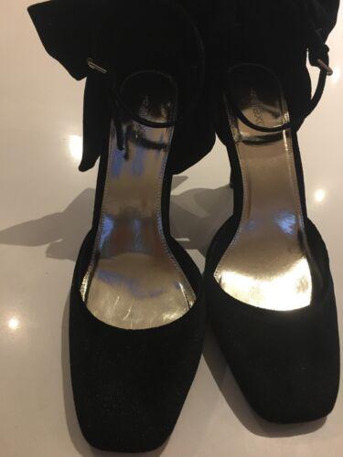 tacco Fiocco Nuove nero alto in scarpe 8 velluto con Next Size xXqB0Uw7