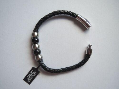 21 cm lang schwarz Edelstahl SAVE BRAVE Armband DAVID NEU Leder