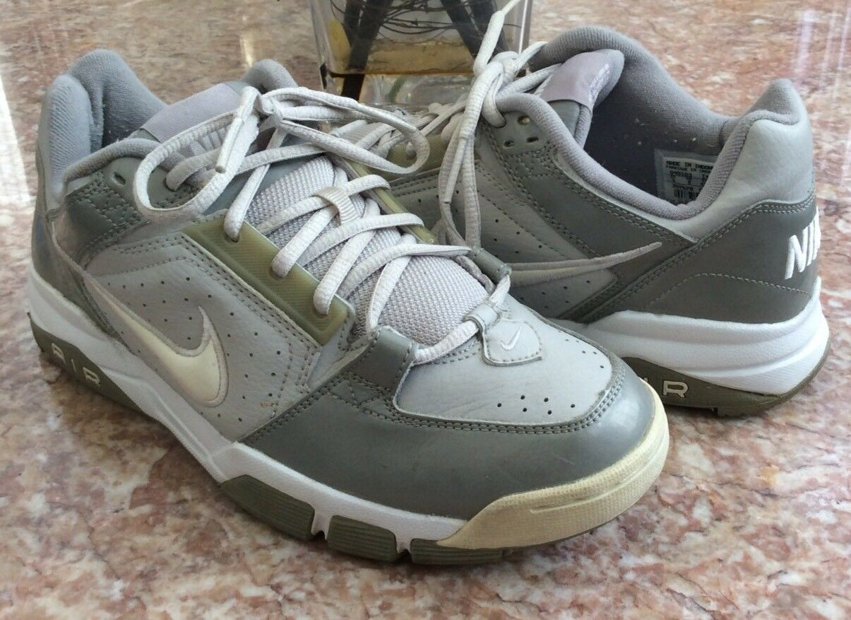 Nike Air Men's Gray Genuine Leather Active Athletic Shoes Size 9 EUC