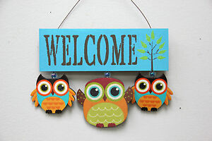Wood Owls Welcome Sign Cute Door Hanging Welcome Plaque