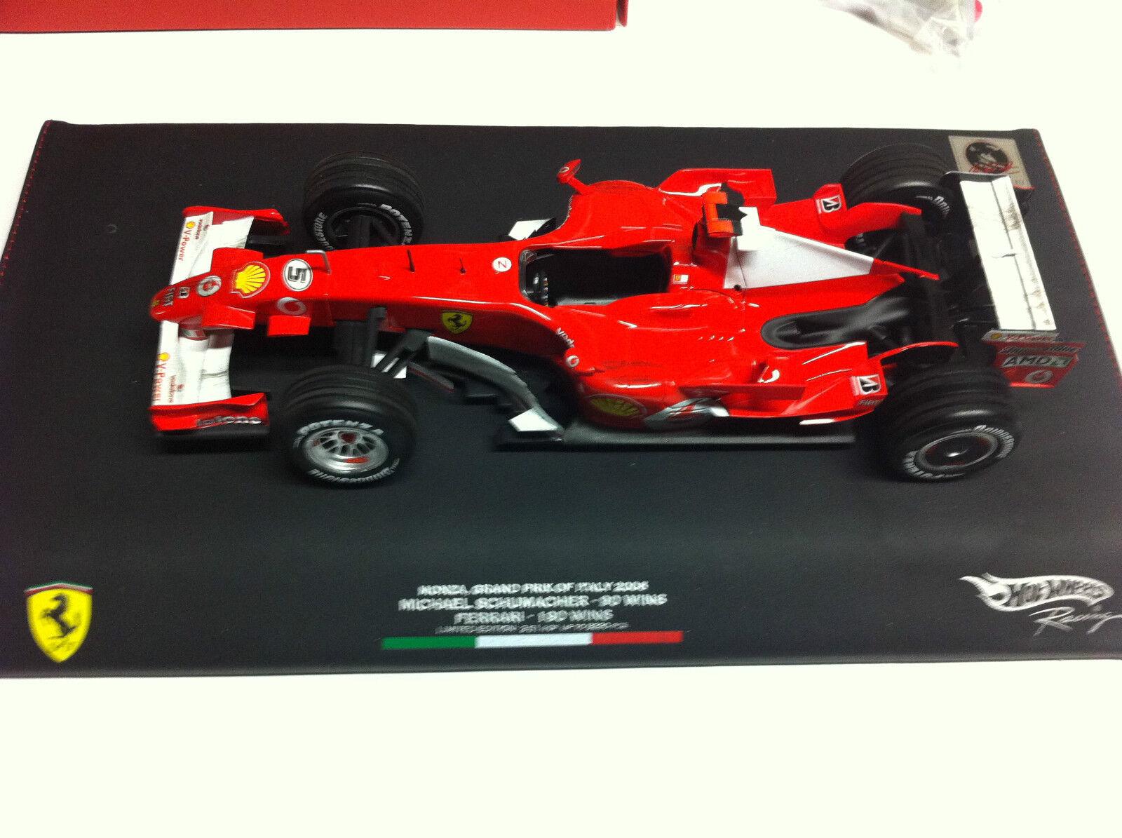Hot Wheels 2006 M. Schumacher Ferrari Monza 90 Wins Signed Signed Signed Figurine 1 18 222